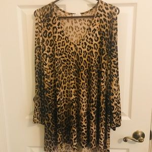 long open sleeve cheeta print tunic dress
